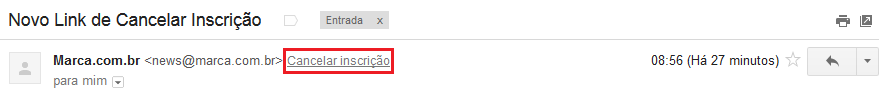 cancelar inscricao gmail